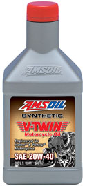 AMS-MVIQT 20W-40 Synthetic V-Twin Motorcycle Oil Developed by AMSOIL for use in Victory * and Indian* Motorcycles