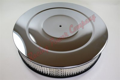 "RPCS2148BOX Chrome 14"" x 3"" Performance Style Air Cleaner Set - Paper Element & Flat Base"