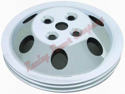 RPCS9479 Satin Aluminum SB Chevy V8 Double Groove Water Pump Pulley - SWP Upper