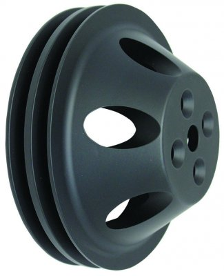 RPCS9479BK BLACK ANODIZED ALUMINUM SB CHEVY V8 DOUBLE GROOVE WATER PUMP PULLEY - SWP UPPER