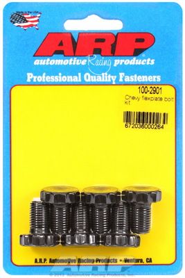 ARP100-2901 Flexplate Bolt Kit Chevrolet 90° V6 & 265-454 V8, w/ 2 pc rear seal & Ford 289-400 V8, High Performance, 6 pieces