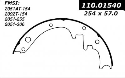 CEN111.01540 CEN BRAKE SHOES-1949 - 1971 / FORD, MERCURY / CALIENTE, COMET, COUGAR, COUNTRY SQUIRE, CRESTLINE, CUSTOM, CUSTOMLIN