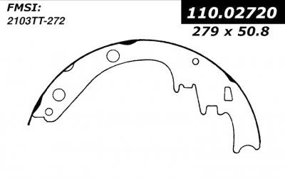 CEN111.02720        CEN BRAKE SHOES-1965 - 1971 / CADILLAC, CHECKER, OLDSMOBILE, PONTIAC / 98, ACADIAN, AEROBUS, BEAUMONT, BONNE
