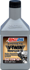 AMS-MCVQT 20W-50 Synthetic V-Twin Motorcycle Oil High-Performance Lubricant for Engines, Transmissions and Primary Chaincases