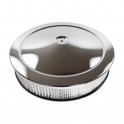 "RPCS2195BOX Chrome 14"" x 3"" Muscle Car Style Air Cleaner Set - Paper Element & Recessed Base"