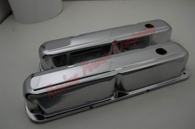 RPCS9298 Chrome 1968-89 Chrysler 318-340-360 V8 Short Valve Cover - Baffled