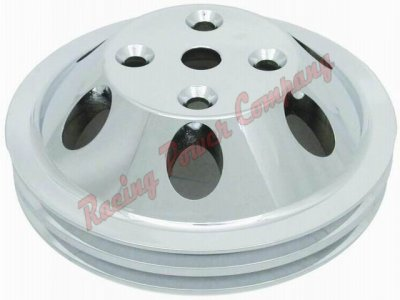 RPCS9483 Satin Aluminum SB Chevy V8 Double Groove Water Pump Pulley - LWP Upper