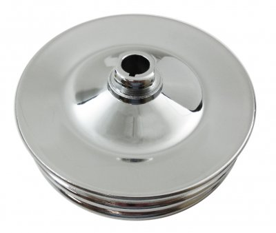 RPCS8947 Chrome early GM double groove power steering pump pulley.