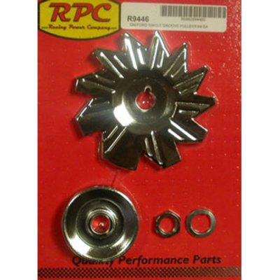 RPCS9446 Chrome  Alternator Pulley Fan Fits GM & Ford  Includes Single Groove Pulley