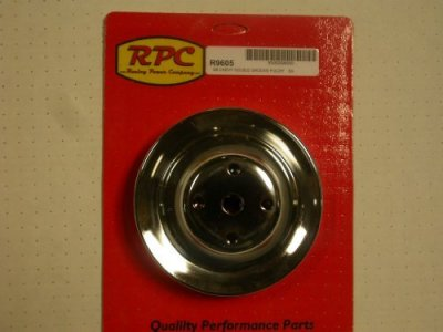 RPCS9600 Chrome Water Pump Pulley • 1955-68 Small Block Chevy 283-350  Short Water Pump Single Groove  Diameter: 7.1""